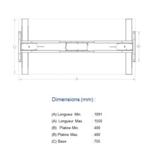 Dimension Structure table électrique réglable en hauteur