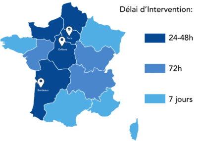 Zone d'intervention Equilibre France Ergonomie - Déplacement et Délai