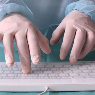 Clavier ergonomique lisse gants médicaux