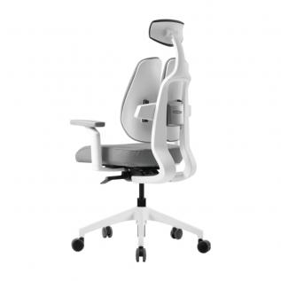 Chaise de bureau D2R blanc et gris clair appui tête/cervicale & accoudoirs
